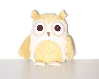 Personalized Baby Owl Pillow  - Soft Chenille Owl Pillow  Baby Shower Gift - Natural