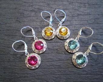 Crystal Halo Earrings/ Swarovski Crystal Drop Earrings/Bridal Jewelry/Bridesmaid Earrings/Bridal Party/Junior Bridesmaid/Wedding Earrings