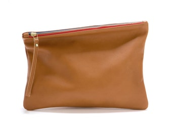 Brown Leather Clutch, Evening Bag, Foldover Clutch Bag