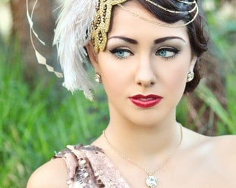 Party at Gatsby's Ivory & Gold Fascinator