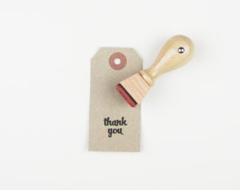 "Mini Thank You Stamp - 3/4"" thank you mounted rubber stamp READY TO SHIP - K0009"