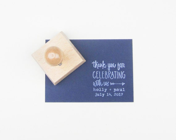 Custom Wedding Calligrapy Stamp - 2 inch Thank You For Celebrating With Us personalized rubber stamp for DIY wedding favors - H4300