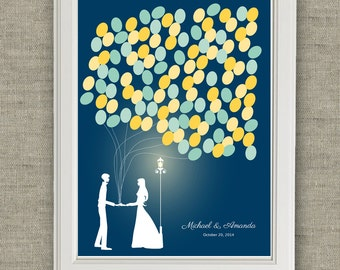 Wedding Guest Book Alternative - bride and groom silhouette night time. Printable file