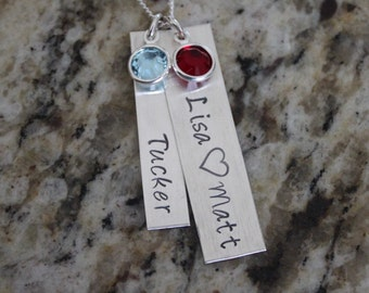 Sterling Silver 925 Hand Stamped Family Necklace for Mom or Grandma