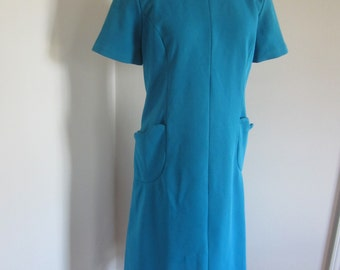 Vintage 60's Teal Ribbed Double-Knit Polyester A-Line Dress Short Sleeve M L
