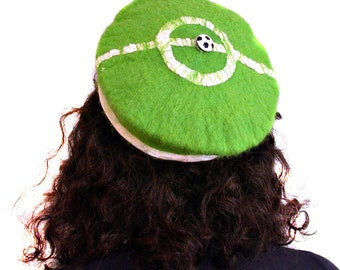 Retro Style Astroturf Green Beret - Hand Felted Pill Box Hat - Bell Hop - Football or Soccer - Small Hat for Woman or Child's Hat