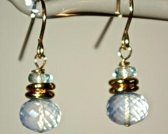 Ice Quartz  and Aquamarine 14KGF Earrings Faceted Ice Quartz and Aquamarine 14K Gold Filled Earrings
