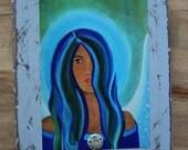 Original 7 x 9 Sapphire Angel- Distressed & Painted Wood-Print Inspirational-Child's Decor-Nursery Room-Angel, Guardian Angel, Home Decor