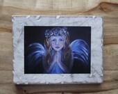 Original 7 x 9 Inner Child Angel- Distressed & Painted Wood-Print Inspirational-Child's Decor-Nursery Room-Angel, Guardian Angel, Home Decor