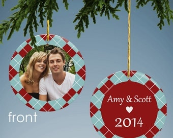 Personalized Argyle Photo Ornament
