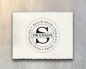 Self Inking Address Stamp OR Traditional Wooden Rubber Stamp - Round Stationary Impression Label - Custom Design - No.16