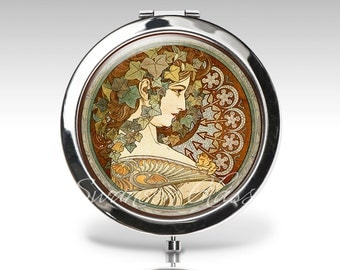 Compact mirror, Art Deco, Art Nouveau, Alphonse Mucha, gift for woman, Floral, green brown,  bridesmaid gift, bridal party gift C42