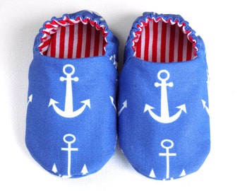 Nautical Baby Boy Shoes with Anchors, 0-6 mos. Baby Booties, Soft Sole Shoes, Boy Crib Shoes with Anchors, Slip on Baby Shoes, Baby Boy Gift