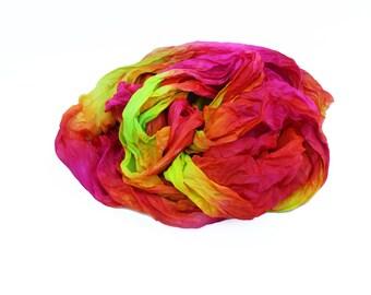 pink scarf - Neon Flash  -  hot pink, chartreuse, yellow, orange, neon silk scarf.