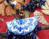 Ethnic Bohemian Enamel Cloisonne Gold Plated Set. Necklace, Earrings