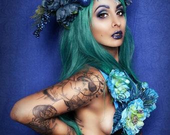 Blue,Teal,Floral,Crown,headpiece,halo,hat,High fashion,Headband,headpiece,headdress,