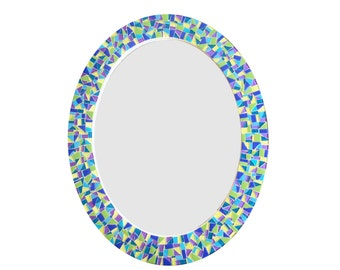 Colorful Oval Mirror // Decorative Mosaic Wall Mirror in Purple, Green, Blue, Yellow