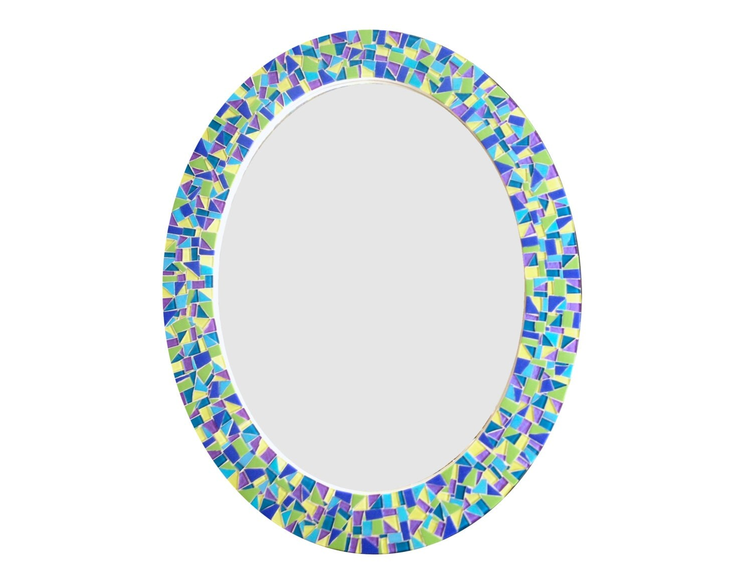 Colorful oval mirror decorative mosaic wall mirror in for Fancy oval mirror