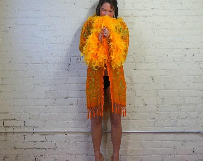 Beaded Silk Velvet Burnout Robe Vintage Devore Feather Trim & Fringe Duster Orange Floral Kimono Jacket Cover Up Burlesque Showgirl Lingerie