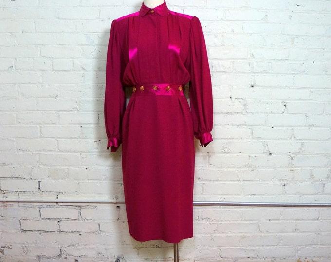 Business 2 Cocktails 1980s Vintage Power Dress MEDIUM Fuchsia Pink Wool Satin Long Sleeve Executive Secretary Francesca of Damon Starington