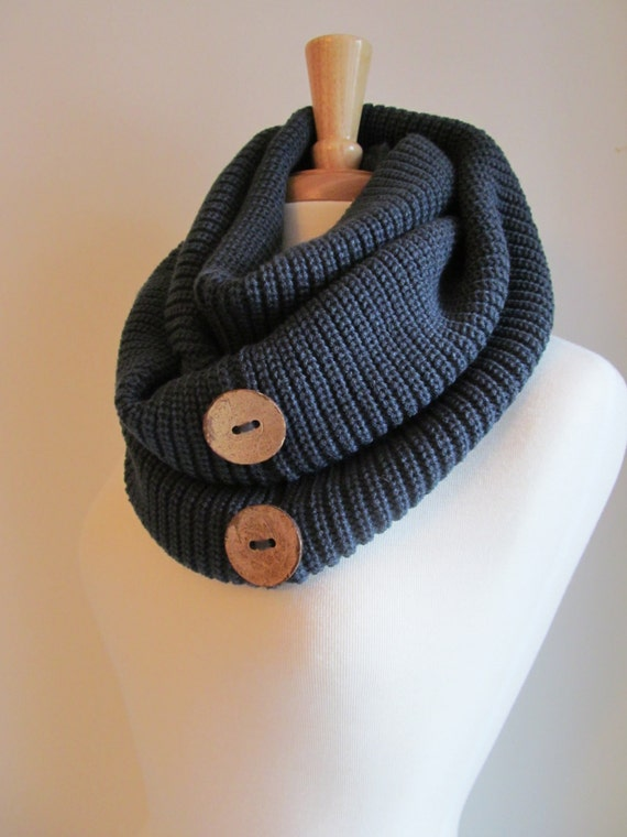 infinity loop scarf with buttons knit neckwarmer beige by