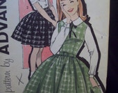 Vintage Girls Jumper or Skirt Pattern 1960s Advance Pattern 9478 Size 10 Easy to Sew