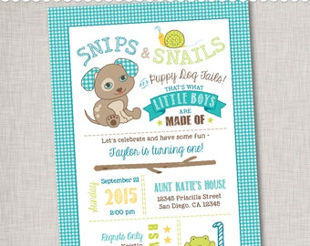 Snips & Snails 1st Birthday Invitation - Digital File or Printed Invitations with Envelopes - FREE SHIPPING