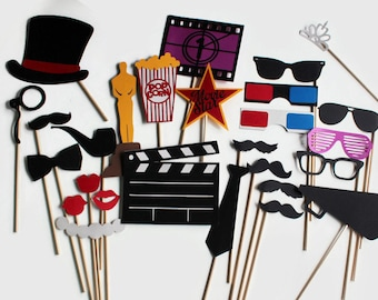 Movie Award Photo Booth Props - Hollywood Glamour Collection perfect for oscar bash, hollywood party, cinema birthday or a fun movie night