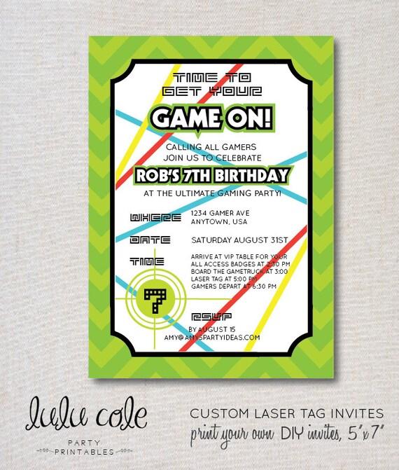 Gamer Party Invitation Laser Tag Invitations – Laser Tag Party Invitation