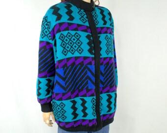 Teal and Purple Geometric Vintage 80's Sweater Southwest Jacket Minimalist Jacket Sweater Slouchy Sweater 80's Oversized Sweater Jacket G1