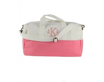 Monogrammed Duffle Bag - Small coral duffle
