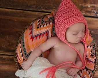 Newborn Baby Girl Hat Newborn Girl Hat Strawberry Pink Baby Hat Baby Girl Clothes Pixie Elf Baby Hat Pixie Baby Hat Photo Prop Shower Gift