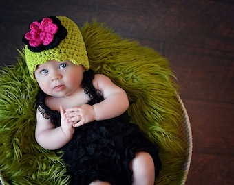 Baby Girl Hat 0 to 3 Month Lime Green Baby Hat Baby Girl Clothes Black Hot Pink Crochet Flower Hat Flapper Beanie Flapper Hat Photo Prop