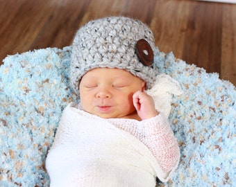 Gray Marble Baby Hat Gray Baby Hat Baby Girl Hat Baby Boy Hat Gender Neutral Baby Hat 0 to 3 Month Baby Hat Wood Button Beanie Baby Gift