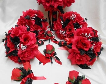 Wedding Silk Flower Bridal Bouquet Package Black Red Bride BridesmaidsToss Bouquets Boutonnieres Corsages FREE SHIPPING