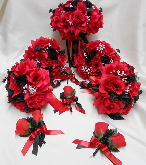 Wedding Bouquet Packages Silk : Wedding silk flower bridal bouquet package black red bride