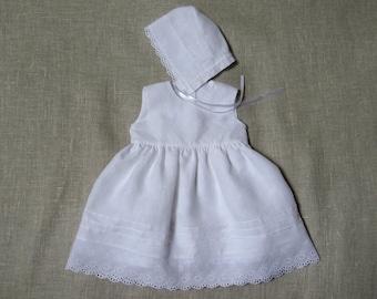 Baby girl baptism dress bonnet girl christening gown girl white linen dress girl special occasion dress newborn girl heirloom blessing gown
