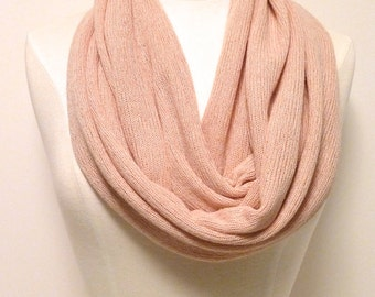 SALE ! LIGHT PINK Infinity Scarf - Pale Pink Eternity Scarf - Sweater Knit -  Lightweight Circle Scarf -  Knit Loop Scarf - Handmade