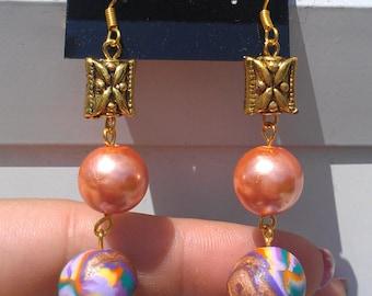 Orange Glass Pearl Earrings, Polymer Clay Earrings, Purple Earrings , Green Earrings , Lavender Earrrings ,Yellow Earrings , Gold Earrings