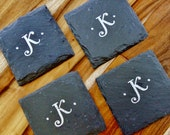 Family Initials Slate Coasters (Set of 4) Personalized Wedding, Engagement, Anniversary