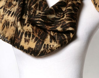 Tribal Scarf Hand Dyed Neck Scarf Square Black and Gold Shibori Scarf
