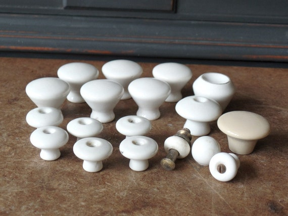 Vintage White Porcelain Knobs Drawer Pulls Mixed Lot