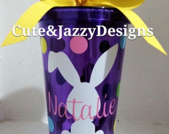 Personalized Easter Bunny 16 oz Tumbler with Straw