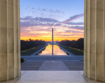 Capital Sunrise, Washington DC Photography - National Mall, Reflecting Pool - Fine Art Print, Washington Monument, Lincoln Memorial Art