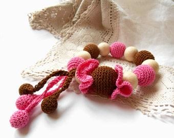 Wooden beaded Teething toy Pink brown Crochet teether Wooden beads rattle Natural teether Wooden teething toy with pendants