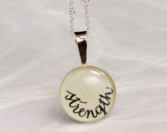 Strength Necklace - Strength Jewelry in Sterling Silver, Unique Inspirational Gift for Her, New Year's Resolution Word Jewelry, Handwritten