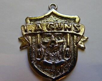 Vintage 1980s L.A. GUNS Necklace Pewter Deadstock Die Cut Metal  Necklace 80's Hard Rock Glam Metal n.o.s. Rock Biker Pin