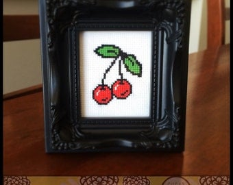 Rockabilly Cherries Cross Stitch Pattern ( Printable PDF ) - Immediate Download from Etsy - Cute Kawaii Yum Tattoo SugarStitch