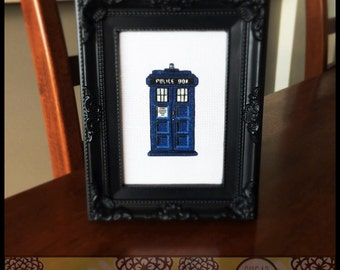 Blue Police Box Cross Stitch ( Printable PDF ) - Immediate Download from Etsy - Like the Tardis in Doctor Who SugarStitch