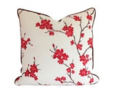 Designer Pillow Cover with Piping, Embroidered Red and Pink Cherry Blossoms